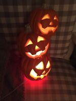Trendmasters Stacked Foam Jack O Lantern Halloween Pumpkin LIGHT UP Blow Mold