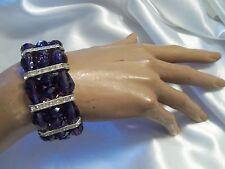 Silvertone Rhinestone Stretch Bracelet Deep Purple Aurora Borealis Crystal