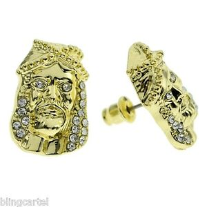Huge Jesus Iced Yellow Gold Finish Stud Post Hip Hop Mens Blinged Big Earrings