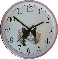 150319 Artline Keramik-Uhr Schwarz-weiß-Katze-Hellrosa Rand handbemalt Quarzuhr