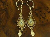 14kt 585 bicolor Weiß- und Rotgold Ohrhänger mit Diamant Besatz / Ohrringe /4,5g