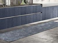 Passatoia tappeto arredo Chenille Timber ingresso cucina BLU 55x190 offerta