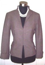 Worth Jacket Sz 8 Wool Suit Stand up Collar  Taupe y Pink Gray Dress Casual M