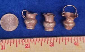 Vintage 1970s Dollhouse Miniature Artisan Copper Hammered Pitcher & Vase, pot