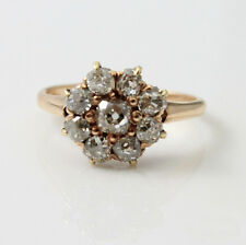 0.90 Ct Round Cut Diamond Cluster Engagement Women Ring 10K Yellow Gold Finish