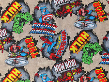 "23"" REMNANT MARVEL COMIC BURST SUPERHERO COTTON FABRIC HERO HULK CAPTAIN AMERICA"