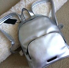 Kendall + Kylie Silver Metallic Vegan Leather Hot Backpack Designer Bag NWT