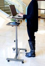 Portable Computer Adjustable Rolling Cart Stand Table Mobile Laptop Desk New