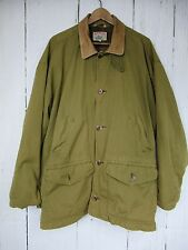 Vintage Adirondack by Savile Row Field Jacket Barn Coat Men's L Leather Collar