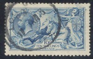 10/- Blue, Sea Horse. Well centered. 17 JAN '18, London cancel. Small thin.