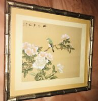 Antique Chinese Bird And Floral Gouache Watercolor On Silk