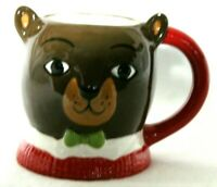 Threshold Collectible Brown Bear Coffee Mug Cup Green Bow Tie Red Handle Sweater