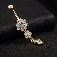 Ring Bar Body Piercing Jewelry Beauty Crystal Flower Dangle Navel Belly Button