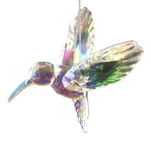 Acrylic Crystal Hummingbird Christmas Holiday hanging ornament floral decor