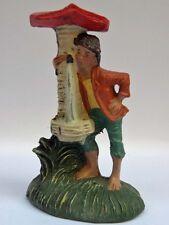 PRESEPE PRESEPIO vecchia statuina cartapesta ragazzo alla fonte diorama