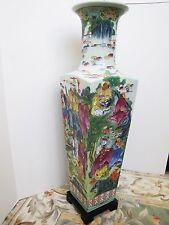 "Vintage Eighteen Arhats / Shíbā Luóhàn 十八羅漢 Porcelain Tall Vase. 31"""