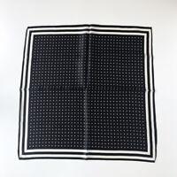 100% Silk Black Scarf Women Vintage Polka Dot Print Small Bandana Tied Band 53cm