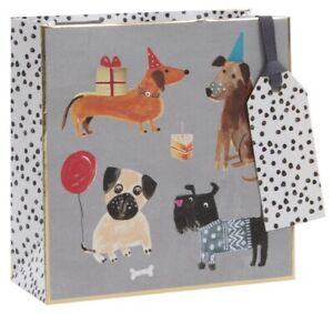 Dog Birthday Party Luxury Gift Bag – Fun Illustrated Small Giftbag and Tag