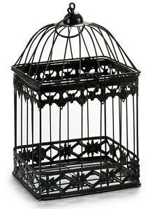 Black Metal Bird Cage Ornament Modern Wired Wedding Display Hanging / Standing
