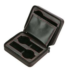 Diplomat Travel Watch Case - Black Leather Watch Box (4 Watches)