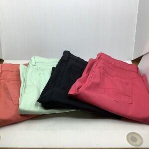 Women Not Your Daughters Jeans Long Shorts 4 pr Sz 4 Peach Lime Black Coral NWOT