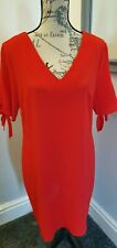 Peacocks Ladies Red Dress Crinkle Shift Cold Shoulder Size 10 Party Xmas New