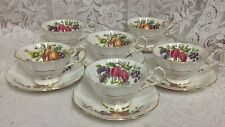 6 Queen Anne Cups & Saucers, Fruit Series, Fine English China