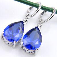 Teardrop Style Swiss Dark Blue Topaz Gemstone Silver Dangle Hook Earrings