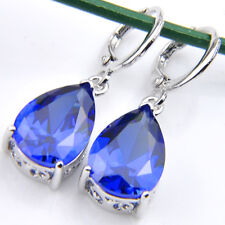 Teardrop Style Swiss Dark Blue Topaz Gemstone Silver Dangle Hook Earrings