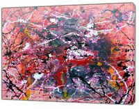 Jackson Pollock style Grey/pink  Abstract oil paint  Reprint On Framed Canvas