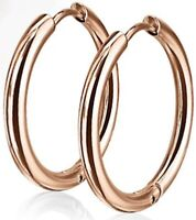 *NEW & SEALED -High Quality 14mm Rose Gold Titanium Hoop Pair Of Earrings