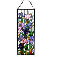 "Iris Floral Stained Glass Hanging Window Panel Home Decor Suncatcher 31.5""H"