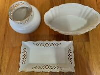 3 Piece Lot - Lenox China - Harvest Server -Tracery Vase - Shelburne Tray Lenox