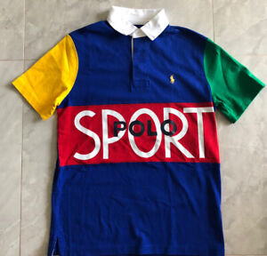 NWT POLO RALPH LAUREN Men's Polo Sport Classic Fit Colorblock Rugby Polo Shirt