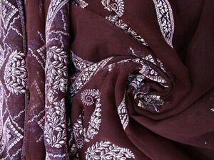 Indian Sari Vintage Georgette Blend Hand Painted Brown Women's Saree SI17615