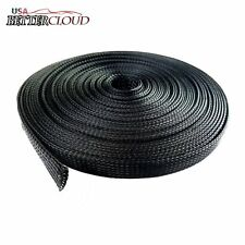 "Black 100 Ft 1/4"" Expandable Wire Cable Sleeving Sheathing Braided Loom Tubing"