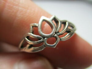 STERLING SILVER 925 ESTATE OPEN WORK BLOOMING LOTUS FLOWER RING SIZE 10