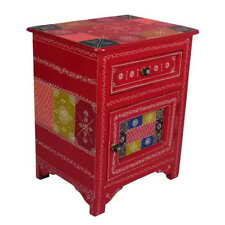 Indian Hand Painted Solid Wood Nightstand Drawer