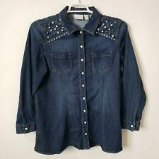 Chicos Blouse Size 2 Snap Chambray Denim Shirt Studs Long Sleeve Top Pockets