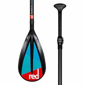 Red SUP Paddle, 3 Piece, Adjustable, Carbon 50, Nylon Blade, Midi length.