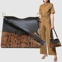 NWT🍂$378 Rebecca Minkoff Dani Leather Shoulder Bag Black Equestrian Snake Brown