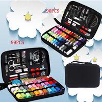 Travel Sewing Kit Thread Needles Mini Case Plastic Set Pins Scissors Tape