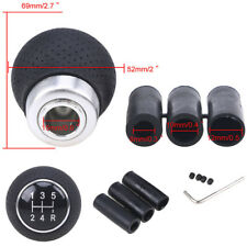 Leather 5-speed Manual Transmission Car Gear Shift Knob Shifter with 3x Adapter