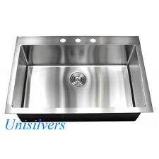 "33"" x 22"" Top mount Drop In 15mm Radius Stainless Steel Single Bowl Kitchen Sink"