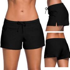 Ladies Plain Black Swim Short Bikini Swimwear Boy Style Shorts UK Size 6 8 10 12