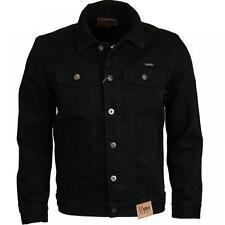 New Mens Quality Denim Trucker Jacket Vintage Classic 1970's Retro Black s - 6XL