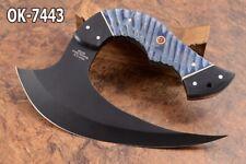 "8.0""KMA CUTLERY 52100  STEEL BLACK COATED FULL TANG ULU HUNTER KNIFE 7443"