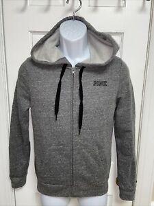 NEW PINK Victoria Secret Women's Gray Full Zip Hooded Sweatshirt Size XS
