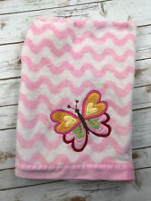 Amy Coe Butterfly Baby Girls Blanket Pink White Wavy Lines Waves Plush Security