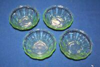 4 Kompottschüsseln Schüssel Schale Uran Glas 13 x 5 cm
